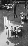 umbrella table, chairs